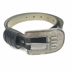 Vintage Belt Black Leather Silver Big Buckle 80's